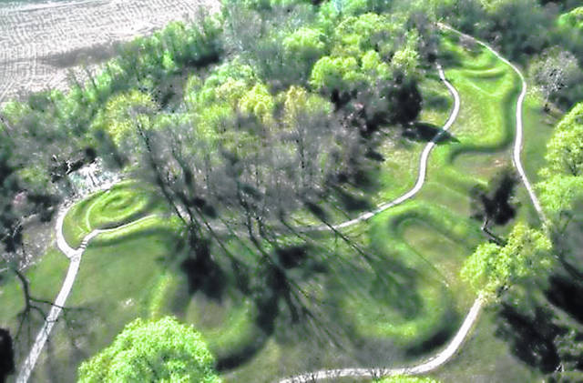 This aerial view of Serpent Mound was provided by the Serpent Mound Spring Seed And Water Blessing Music Peace Summit.
