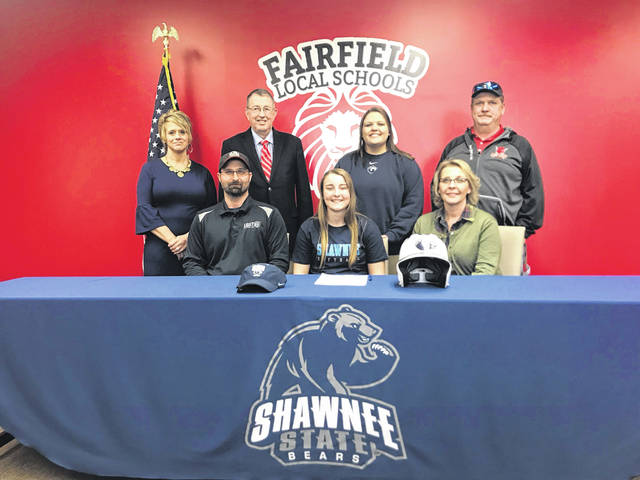 Senior Lyndee Spargur signed her letter of intent with Shawnee State today to play softball. Lyndee has played softball all 4 years, soccer 4 years and basketball 3 years. Lyndee also has a perfect 4.0 GPA. Pictured front row (l-r): Sam Spargur (father), Lyndee Spargur and Cammi Spargur (mother). Back row (l-r): Denise Mootz (Fairfield A.D.), Tom Purtell (volunteer softball coach), Ashley Webb (Shawnee Asst. Softball Coach) and Mark Dettwiller (Fairfield varsity head coach).