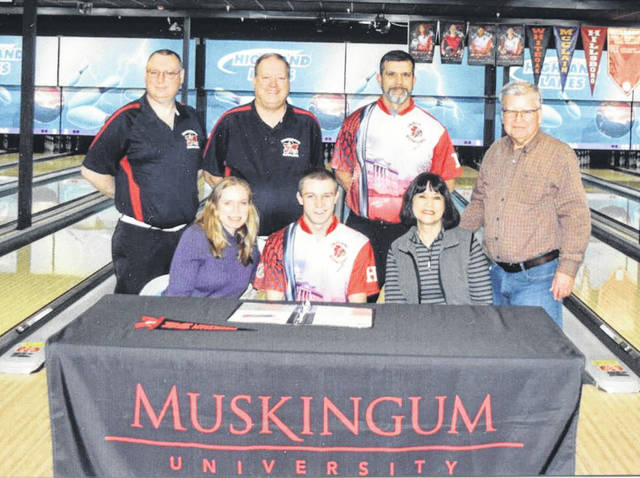 Hillsboro senior Ty Alexander recently signed to bowl for Muskingum University for the 2019-2020 year. Muskingum is a private liberal arts college in New Concord, Ohio. Pictured seated (l-r): Fay Alexander (mother), Ty and Carleen Alexander (grandmother). Standing (l-r): David Jones (Muskingum coach), Doug Smith (Muskingum coach), Jeff Miller (HHS coach) and Bill Alexander (grandfather).