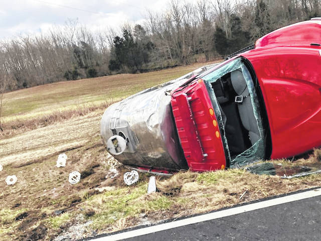 Shown is a Lynchburg fire truck that rolled over in a wreck en route to a fire on Sunday.