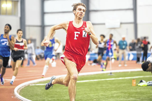 Fairfield's Brandtson Duffie is pictured above during the 2019 Indoor Track and Field State meet at the SPIRE Institute in Geneva, Ohio. Duffie finished as the State runner-up at the meet.