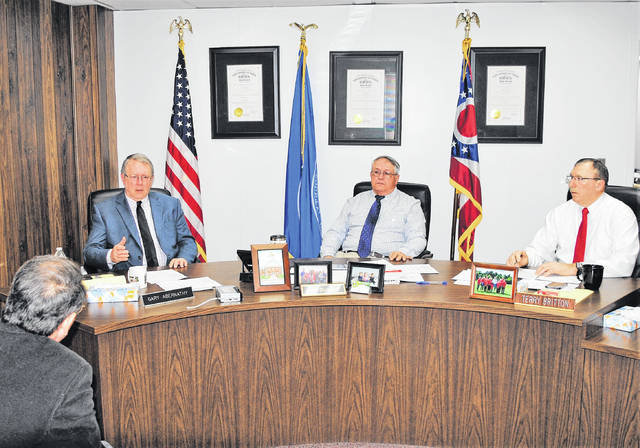 REACH for Tomorrow's Creed Culbreath (far left) appeared before the Highland County Board of Commissioners Wednesday with additional information on the Get Worker FIT jobs assessment program and it's broader Growing Regional Independence Together (GRIT) program. Also pictured, from left, Commissioners Gary Abernathy, Jeff Duncan and Terry Britton.