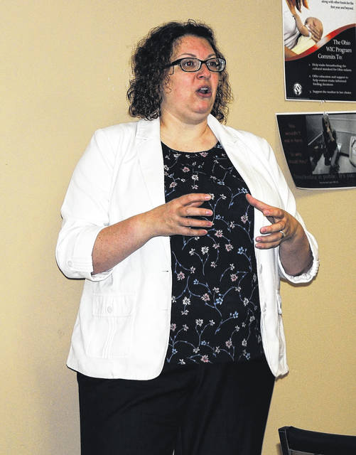 Erin Holstead, clinical director of Family Recovery Services, shared with members of the Highland County Drug Abuse Prevention Coalition options for treating addiction and recovery housing that is available at a Thursday meeting.
