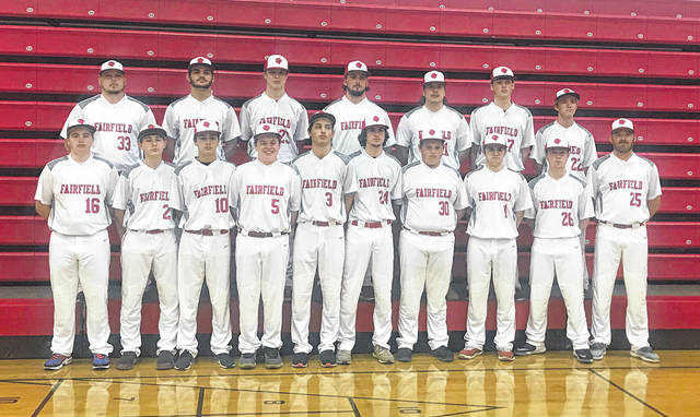 The Fairfield Lions varsity baseball team poses for a team photo on Tuesday. Pictured front row (l-r): Lane Sparks, Logan Rohde, Jacob Morgan, Ryan Ludwick, Nathan Vidourek, Wyatt Willey, Zane Acton, Orrie Friend, Hunter Burns and Head Coach Jeremy Andrews. Back row (l-r): Assistant Coach Jason Fox, Hunter Burns, Sam Buddelmeyer, Griffin Irvin, Layne Morgan, Ethan Grooms and Austin Setty.