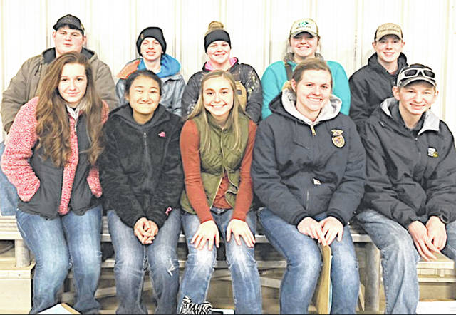 The Fairfield FFA Livestock Judging Team traveled to Wilmington recently for the Wilmington Aggies Livestock Contest. The team which consisted of Caden Shoemaker, Reese Teeters, Zoey Morris, Mackenzie Arnold, Thomas Fraysier, Kylie Fauber, Sophie Young, Kiley Lamb, Paige Teeters and Spencer Crothers. They placed 26th out of 93 teams. Pictured (back row, l-r) Caden Shoemaker, Reese Teeters, Zoey Morris, Mackenzie Arnold and Thomas Fraysier; front row, l-r) Kylie Fauber, Sophie Young, Kiley Lamb, Paige Teeters and Spencer Crothers.