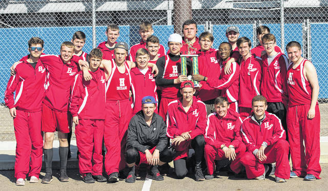 The Hillsboro boys Track and Field team is pictured with their second place trophy from the Chillicothe Fairweather Relays at Chillicothe High School on Saturday, March 23.