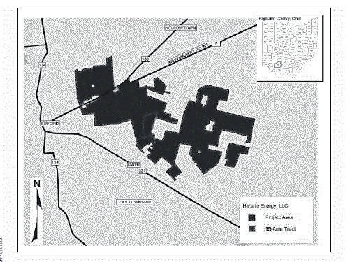 "A map supplied by Hecate Energy, LLC showing the proposed ""footprint"" of the approximately 3,400 acre Hecate solar panel electrical generating farm is pictured."