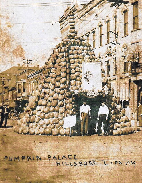 "This photo taken in 1909 apparently shows a ""Pumpkin Palace"" erected in the 100 block of North High Street during the Hillsboro Expo of 1909."