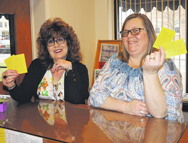 The Times-Gazette's Sharon Hughes, left, and Ann Runyon-Elam display tickets for the 31st annual Homemakers Show that will be held April 25 at the Southern State Community College Patriot Center in Hillsboro.