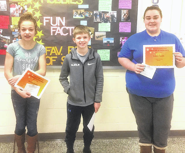 The Lynchburg-Clay Middle School March Students of the Month are sixth-grader Ava Doughman, seventh-grader Blake Eyre, and eighth-grader Gabby Smith.""
