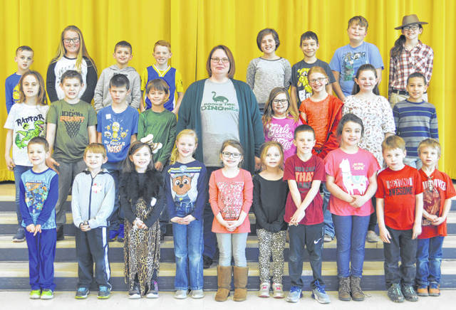 The following children were chosen as Lynchburg-Clay Elementary March Students of the Month. The students were chosen by their teacher for displaying positive behavior, being responsible and respectful, doing good deeds as well as their school work, and being a positive role model for others. Pictured are (front row, l-r) Mathew Perkins (pre-K), Richie Doss (kindergarten), Hadley Partin (kindergarten), Natalie Bohrer (kindergarten), Ally Carraher (kindergarten), Kaylee Hurley (first), Brantley Blanton (first), Hadley Simmons (first), Brayden Weatherspoon (first) and Ryan Peters (first); (second row, l-r) Carlee Schoultheis (second), Carson Fenner (second), Houston McPherson (second), Xaiden Ward (second) Principal Mrs. Godby, Rhealyn Morris (third), Savannah Tong (third), Libby Watson (third) and Tavion Huguely (third); (third row, l-r) Bryson Pfeiffer (fourth), Ashlynn Wilson (fourth), Carson Pfiester (fourth), Alexander VanFleet (fourth), Miley Henderson (fifth), Ryan Rementer (fifth), Keegan Knoechel (fifth) and Matalyn Magee (fifth). Not pictured were Braxton Myers (pre-K) and Kylee Tong (second).