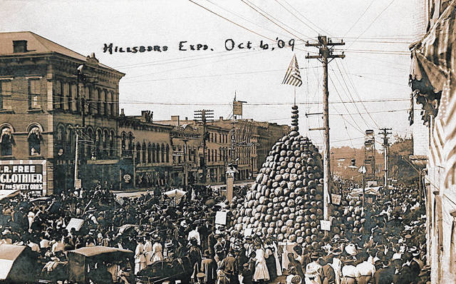 "This photo shows a street fair and the ""Punkin Palace"" in downtown Hillsboro on Oct. 6, 1909."