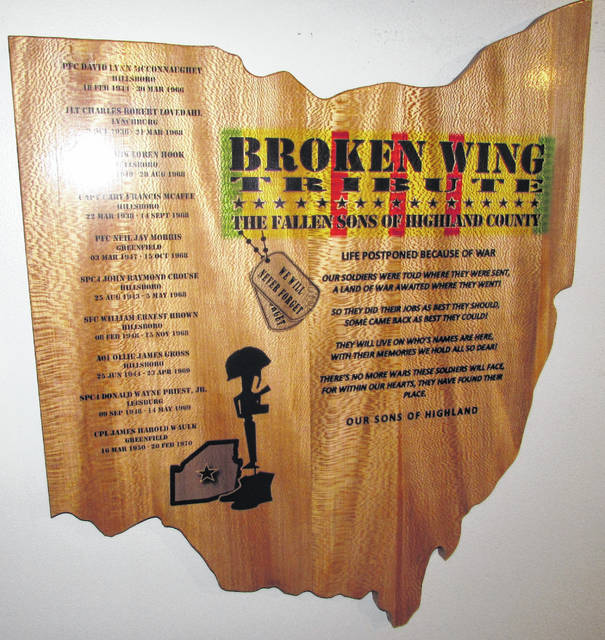 A Vietnam War veterans tribute plaque, which honors the 10 soldiers from Highland County who didn't come home from the war in Southeast Asia, hangs in the lounge of the Fraternal Order of Eagles Aerie 1161 in Hillsboro. Highland County Veterans Honor Guard representative Gerold Wilkin said it is his hope that the plaque, made from sycamore and designed by Danny Hoop of Sinking Spring, will be displayed in various buildings throughout the county as a way to honor and remember those native sons that were killed in action while serving in Vietnam.