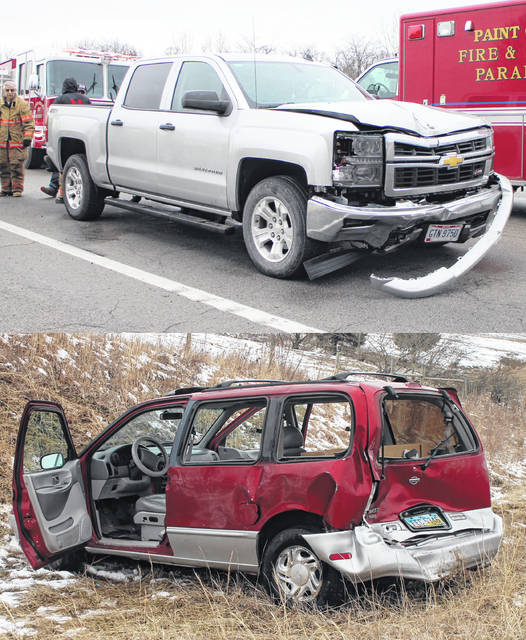 Shown are two vehicles involved in an accident Friday morning on SR 73 roughly six miles north of Hillsboro. One person was transported to the hospital, officials said.