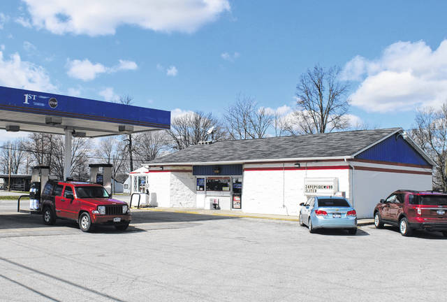 Shown is the First Stop gas station at Allensburg on U.S. Route 50 near Lynchburg.