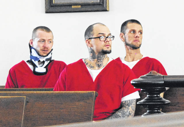 From left, Terry Hester, Tyler Trent and Brandon Greene sit in Highland County Common Pleas Court Wednesday afternoon.