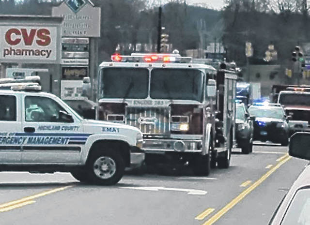 A three-vehicle accident early Monday afternoon sent one person to the hospital and had the road shut down for about a half hour. Sgt. Aaron Reynolds of the Hillsboro Police Department said a northbound sedan driven by Meghan Thurman of Hillsboro in the 1400 block of North High Street failed to maintain assured clear distance ahead and struck a northbound pickup truck, which in turn struck a northbound minivan. Reynolds said a male from the pickup truck was taken to Highland District Hospital for evaluation and others were treated at the scene. Reynolds said Thurman was cited for failure to maintain assured clear distance ahead. The accident was reported at 12:44 p.m. and authorities cleared the scene at 1:20 p.m., Reynolds said.
