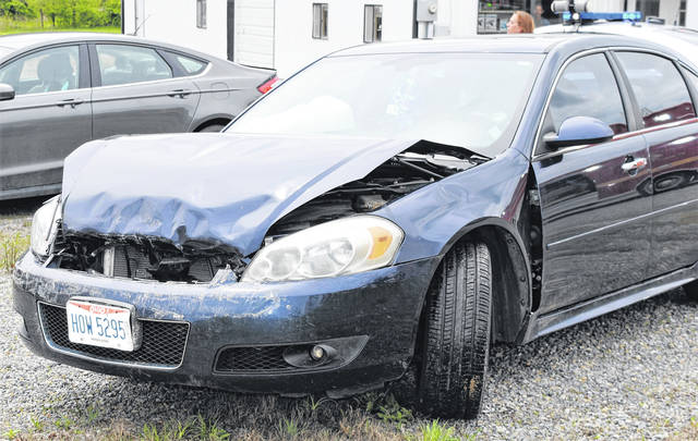 This 2012 Chevrolet Impala, driven by Lorraine Shull, of Hillsboro, sustained serious damage following a rear-end collision Friday afternoon on SR 73 north of Hillsboro.
