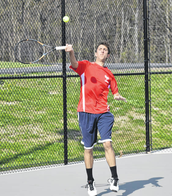 The Hillsboro boys Tennis team has completed half of its 2019 schedule and is currently 8-3 overall and undefeated in FAC matches to this point. The Indinas hosted the Chillicothe Cavaliers on Thursday at Hillsboro High School. Pictured is Adrew Gunderman in the First Singles matchup on Thursday.