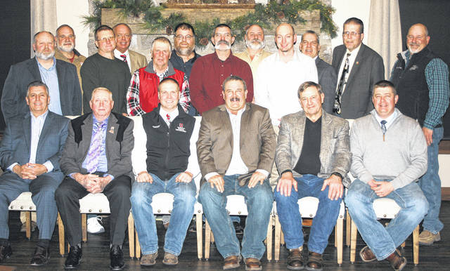 These Angus producers were elected to serve on the Ohio Angus Association Board of Directors and are pictured at the 2019 Ohio Angus Association Annual Meeting and Banquet recently in Wooster. Seated, from left, are Wesley Untied, Frazeysburg, director; Joseph Sanders, Harrod, chairman of the board; Allen Gahler, Graytown, treasurer; Todd Raines, Seaman, president; Keith Kauffman, Danville, vice president; and Daniel Wells, Frankfort, executive secretary. Directors standing, from left, are Scott Millikan, Napoleon; Chip Enos, Cambridge; John Hall, Cardington; John King, Tiffin; Fred Penick, Hebron; Ron Miller, Wapakoneta; David Baird, Washington C.H.; Nick Wagner IV, Attica; Shawn Howell, Shelby; Tim Harsh, Radnor; John Grimes, Hillsboro; and David Felumlee, Newark.