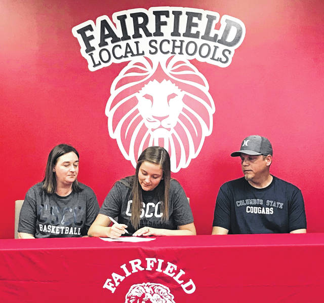 Fairfield Senior Brianna Barnes signed today to play basketball at Columbus State University. Brianna has played basketball and volleyball at Fairfield for four years. Brianna is pictured with her parents Pat Fisher and Amber Barnes.