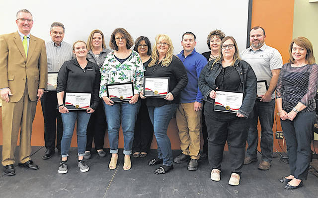 These photos show representatives of the winners at the Highland-Fayette-Clinton Safety Council Annual Safety Awards from the Ohio Bureau of Worker's Compensation.