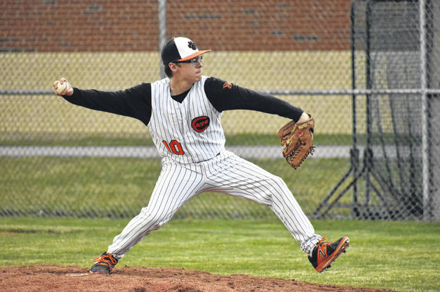 In this Times-Gazette file photo from March 28. 2019 Whiteoak pitcher Chase Butler throws a pitch against the North Adams Green Devils at Whiteoak High School. The Wildcats won the game by a score of 4-2.