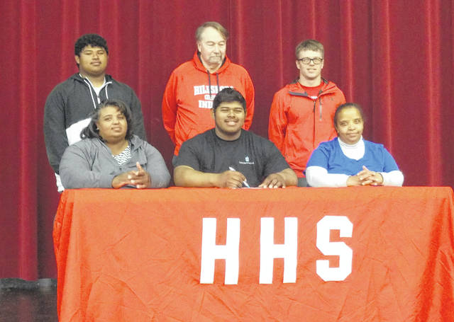 Hillsboro High School senior Deon Burns (front middle) has decided to continue his education and athletic career with Thomas More University. He plans to major in Education and play football. Thomas More University is a NCAA DIII college that will be moving to the NAIA and competing in the Mid-South Conference beginning in the 2019-2020 school year.