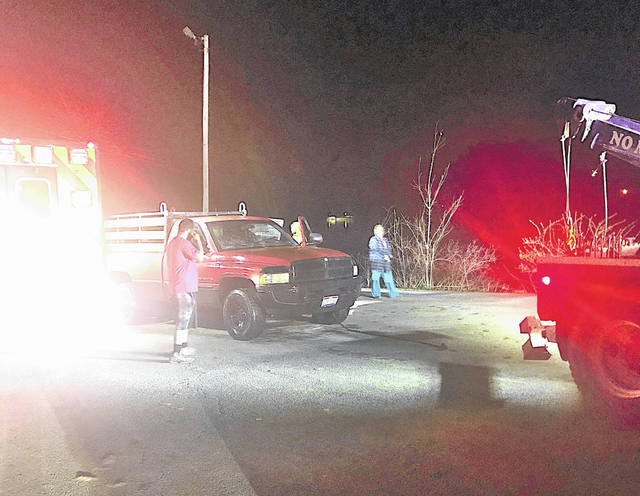 A pickup truck is shown Thursday evening shortly after it was pulled out of Rocky Fork Lake.