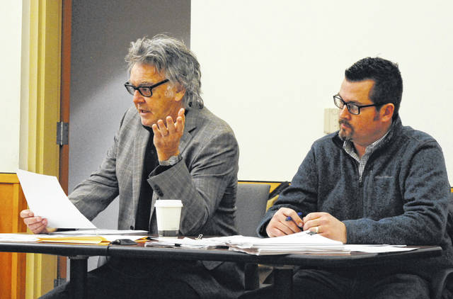 Hillsboro Mayor Drew Hastings, left, and Safety and Service Director Mel McKenzie are shown at a previous Hillsboro City Council meeting.