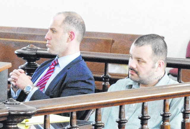 Matthew Greene, right, is shown Monday in Highland County Common Pleas Court with attorney Roger Soroka, left.