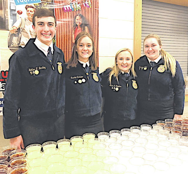 On Thursday, April 11 some Fairfield FFA members helped at the Exceptional Achievement Awards Ceremony at Hillsboro Elementary. They helped serve drinks and volunteered their time by assisting the staff during the banquet. The students who helped are pictured, from left, Kohler Bartley, Rachel Schuler, Alexis Tompkins and Bre Flint.