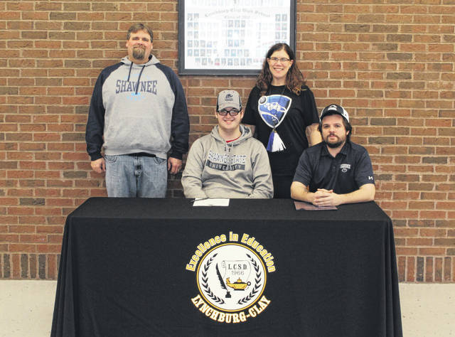 PJ Fiscus, front left, signed with Shawnee State University as an Esports athlete on Wednesday. Fiscus is the second Esports signing for Shawnee State in 2019.
