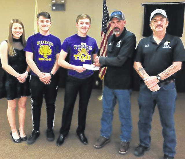 The Fraternal Order of Eagles in Greenfield made a $500 donation to the McClain After-Prom. Here, students from McClain receive the donation from the Eagles. Pictured, from left, are McClain students Macie Adams, Blake Adams and Reece Schluep, and Greenfield Eagles Dean Mann and Doug Templin.