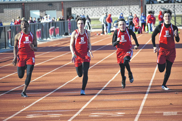 In this Times-Gazette file photo from March 26 at Hillsboro High School shows Indians runners in the boys 100-Meter dash. The Hillsboro boys Track and Field team placed first in a tri-meet at Miami Trace High School on Tuesday. Pitctured (l-r): Kai Rickman, Taylor Lucas, Anthony Richards and Tyler Workman.