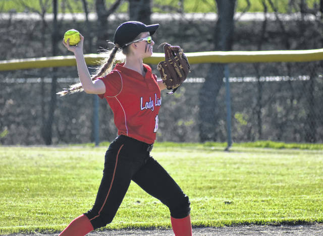 In this Times-Gazette file photo from Saturday, April 6, Fairfield's Halle Hamilton prepares to throw to first base at Fairfield High School where the Lady Lions battled the McClain Lady Tigers in a 3-1 non-conference victory.
