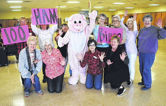 One hundred 13-pound spiral hams will be awarded Saturday, April 13 when the Highland County Senior Citizens Center hosts Ham Bingo. The doors open at 11 a.m. The games will run from noon until approximately 4 p.m. The event is open to the public. Cards are 25 cents per card, per game. Participants must be 18 or older to play. Throughout the day homemade noodles along with chicken, pulled pork and other snacks and drinks will be available for purchase. There will also be separate raffles. The event is a fundraiser for the senior center. Members of the senior center posed for this photo announcing the event Tuesday. For more information call the center at 937-393-4745.