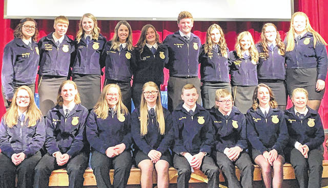 Pictured are the Hillsboro FFA Chapter officers and upcoming FFA officers: (front row, l-r) Jaiden Hughes, Ryan Harless, Mallory Parsons, Kelce Thornburgh, Lawton Parry, Scottie Eastes, Zinny Adams and Katie Craig; (back row, l-r) Lexey Hetzel, Lana Grover, Larkyn Parry, Jordan Williamson, Alora Brown, Joe Helterbrand, Loraleigh Mayhan, Kirsten Harp, Heather Burba and Hailey Hughes.