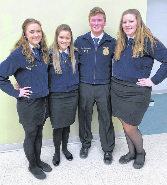 Pictured, from left, are Kenzie Adams, Kristin Jamieson, Joe Helterbrand and Haley Hughes.