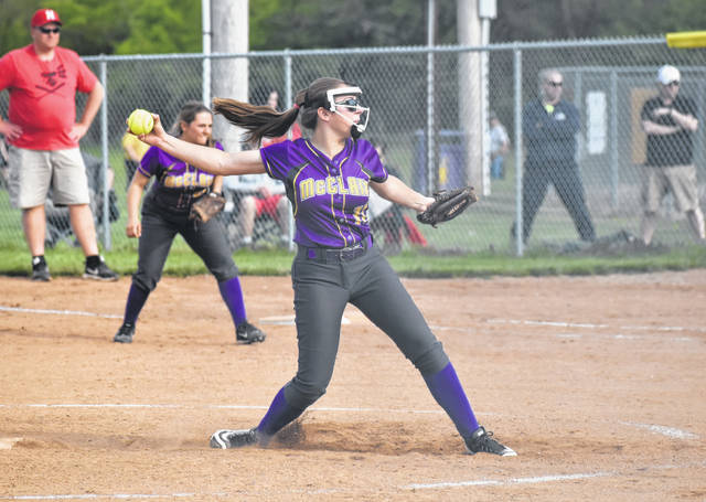 McClain's Josie Crabtree pitches against her FAC and cross county rivals the Hillsboro Lady Indians on Wednesday at Mitchell's Park in Greenfield. Crabtree pitched six innings and allowed four runs against Hillsboro as the Lady Tigers earned a 14-4 league win.