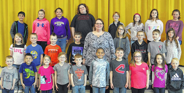 The following children were chosen as Students of the Month at Lynchburg-Clay Elementary for April. The students were chosen by their teacher for displaying positive behavior, being responsible and respectful, doing good deeds as well as their school work, and for being a positive role model for others. Pictured are (front row, l-r) Tiergan Bowman (PK), Zion Bailey(K), Madison Berwanger (K), Macey Green (K), Everett Van Fleet (K), Adrian Ekhator (1), Conner Willey (1), Callie Watson (1), Lola Penza (1), and Michael Osborn (1). (second row, l-r) Lyza Sloan (2), Sheridan Howland (2), Jason Butler (2), Blake Walters (2), Principal Mrs. Angela Godby, Joanna Knope (3), Jayden Peters (3), Austen Campbell (3) and Allison McQuitty (3). (third row, l-r) Iden Hejazifar (5), Allysen Knisley (5), Shyenne Cook (5), Diamond Hewitt (5), Caraline West (4), Rosemary Holaday (4), Bree-Ann Hollingsworth (4) and Lily Doughman (4). Absent from the picture are Aaliyah Broyles (PK) and Zoey Taylor (2).