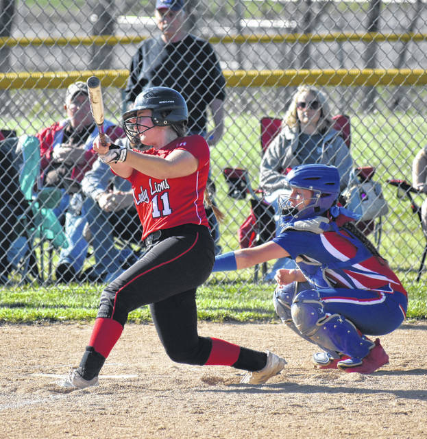 In this Times-Gazette file photo from Tuesday, April 9, Fairfield's Lauren Arnold puts the ball in play against the Peebles Lady Indians. Arnold blasted a massive two run homerun on Friday at Firestone Stadium in Akron where the Lady Lions battled Cuyahoga Heights in the Spring Showcase Tournament.