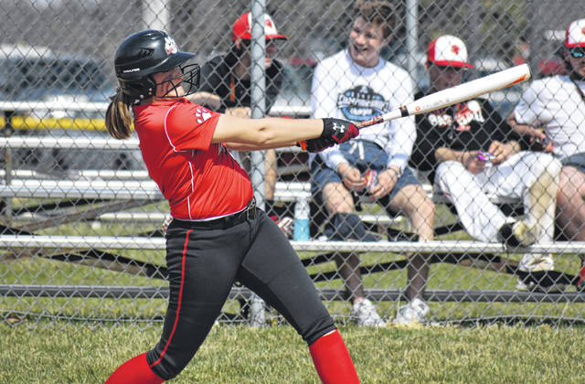 Fairfield's Laylay Hattan bats against the Lady Tigers of McClain in this Times-Gazette file photo from April 6, 2019. The Lady Lions clinched their fourth consecutive SHAC title on Wednesday when they beat the Peebles Lady Indians for the second time this season.