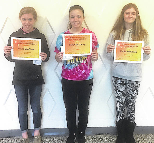These students were named Lynchburg-Clay Middle School April Students of the Month. Pictured, from left, are sixth grader Olivia VanFleet, seventh grader Sarah McKinney and eighth grader Emily Hutchison.