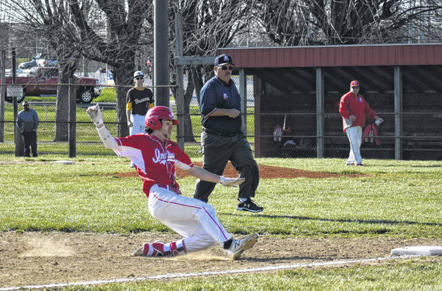 In this Times-Gazette file photo from April 2, 2019 Hillsboro's Luke Magulac slides into third base against the Western Brown Broncos at Shaffer Park in Hillsboro. The Indians have won two games this week with a 7-1 win over Washington on Tuesday and a 1-0 win over Jackson on Wednesday to push their winning streak to nine games.