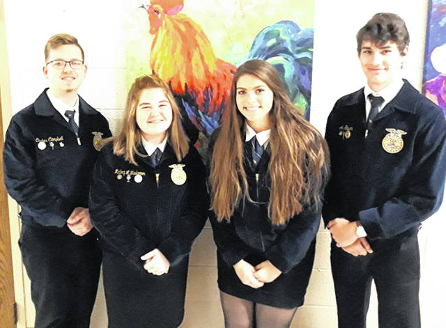 The McClain FFA poultry team of Mallory Faulconer, Courtney Dodds, Alex Snyder and Carter Campbell placed seventh out of 60 teams at the state competition. Out of 222 contestants, Faulconer placed 22nd, Campbell placed 32nd, Dodds placed 34th, and Snyder placed 38th. The team was required to judge hens and broilers. After judging the classes the participants were required to give reasons why they placed the classes how they did. This is the first time that the McClain FFA chapter has had a team in the poultry finals. Pictured, from left, are Campbell, Faulconer, Dodds and Snyder.