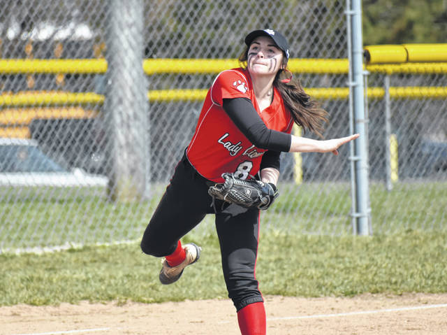 In this Times-Gazette file photo from Saturday, April 6, Fairfield third baseman Molly Thackston throws across the diamond for a put out at first base. The Lady Lions bounced back from their first loss of the season Monday with a 4-0 shutout of the Fayetteville Lady Rockets on Tuesday.