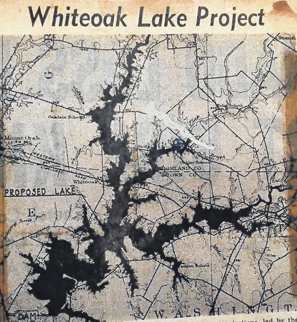 An map used to illustrate where the proposed Whiteoak Lake would have been located appeared in the June 10, 1961 edition of the old Cincinnati Post & Times-Star.