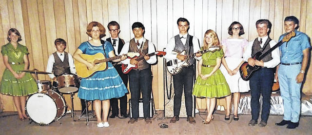 Early Ross County Jamboree members including Cindy (Smith) Montgomery, Mike Horsley (drums), Dianna Horsley, Herman Griffith, Dave Harden, Mike Cutright, Alma (Smith) Cutright, Janet Walsh, Jack Harden and Rodger Graves are shown in this photograph.