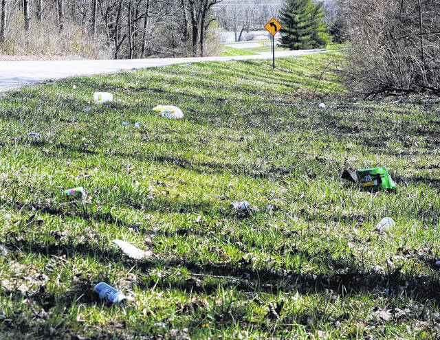 April 13 and 27 are designated trash pick-up days for the annual Don't Pass It Up, Pick It Up litter clean-up campaign at Rocky Fork State Park. This photo was taken Tuesday between the Highland County Airport and the park's main entrance on North Shore Drive.